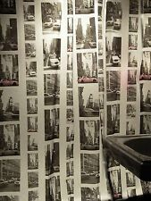 Vinyl Shower Curtain of NYC STREET SCENES 72 x 72 Gray & White w Red Cars
