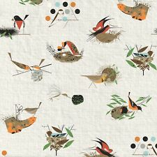 Bird Architect BARKCLOTH Charley Harper Birch By the yard x 58 inOrganic Cotton