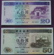 Macau Bank Of China 1997 50 Patacas 1999 20 Patacas (UNC) Same Number 19967 Rare