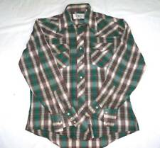 Mens Western BORDER TOWN Plaid Shirt 15.5x33/34 Back Yoke and Pearlized Snaps
