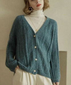 Simple Retro Edana Knitting Cardigan Sweater Absinthe Green Size Small