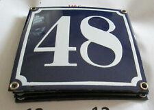 Hausnummer Emaille Nr. 48 weisse Zahl auf blauem Hintergrund 12 cm x 10 cm