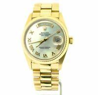 Mens Rolex Day-Date President 18K Yellow Gold Watch White MOP Roman Dial 18038