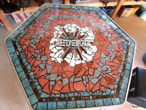 36'' Marble Mosaic Turquoise Center Dining Table Top Inlay Handicraft Decor Gift