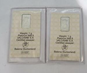 2 Credit-Swiss 1 Gram .9995Platinum Bars .0321APW sealed L10634