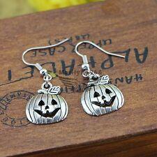 Bolsa De Regalo Gratis Tono Plata Pendientes Colgantes de gota de calabaza de Halloween Lindo joyería
