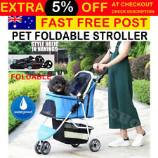 Pet Dog Cat Puppy Carrier Travel Foldable Trolley Stroller Pram Push Wheel Cage