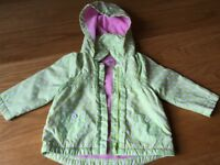TU Girls Lined light weight jacket Green / White/ Pink 9-12 Months