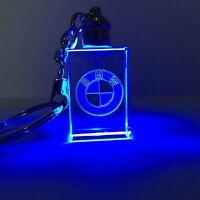 Crystal LED Laser Key Rings BMW  Logo Blue & Purple