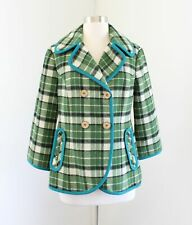 Tabitha Anthropologie Green Plaid Peacoat Size S Wool Teal Trim Coat Jacket