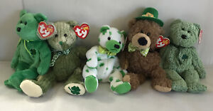 5 Ty Beanie Babies St Patrick's Day ~ Lucky O'Day,Shamrock,McWooly,Clover,Dublin