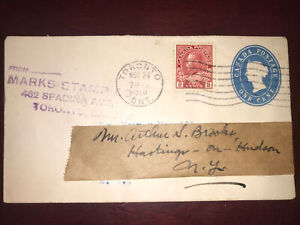 Uprated Stationary 1920 Mark Stamp Toronto To Hasting On Hudson N.Y.