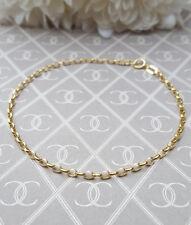 9ct Yellow Gold Ladies Diamond Cut Belcher Link Bracelet Bangle 7.5''