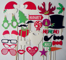 28X Christmas Photo Booth Props With Stick Mustache Party Photography Wedding UK
