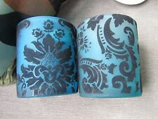 2 Blue Flock  Candle Tea Lite Holders Decor Christmas Gift Wedding 3 colours