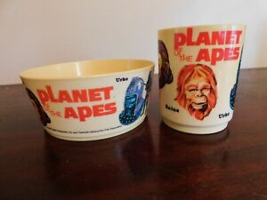 Vintage Planet of the Apes 1967 DEKA Bowl and Cup Set. 2 Piece Lot.