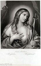 Santa Maria Maddalena,di Francesco Gessi.Acciaio.Steel Engraving.STAHLSTICH.1850
