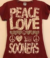 Oklahoma Sooners Peace Love  T- Shirt Women's Creative Apparel
