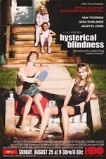 HYSTERICAL BLINDNESS Movie POSTER 27x40 Uma Thurman Gena Rowlands Juliette Lewis