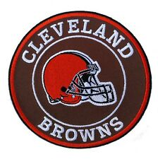 """🏈NEW! 4"""" CLEVELAND BROWNS """"Helmet Logo"""" Round Iron-on Football Jersey PATCH!"""