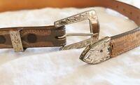 Sunset Trails Vintage Sterling Silver Buckle Set and Artisan Custom Belt