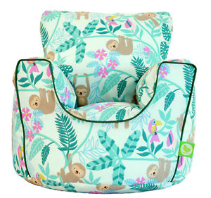 Cotton Green Sloth Bean Bag Arm Chair with Beans Child / Teen size From BeanLazy