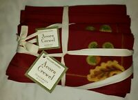 Williams Sonoma Fall Thanksgiving Acorn Crewel Placemats & Napkins NWT Set of 4