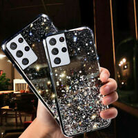 For Samsung Galaxy S21 Ultra 5G S21+ Glitter Crystal Clear Soft TPU Case Cover