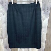 Linda Allard Ellen Tracy Women's Size 6 Pencil Skirt Textured Black Wool Blend