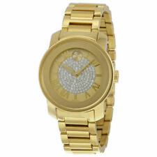 Movado Bold Gold Pave Crystal Dial Stainless Steel Women's Analog Watch 3600255