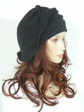 Fab lagenlook effortlessly chic anthracite grey wool slouchy beanie hat  LAST 1