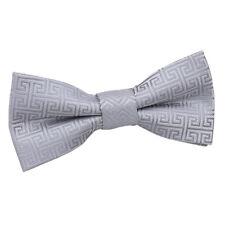 DQT Woven Geometric Greek Key Communion Wedding Page Boys Pre-tied Bow Tie Silver