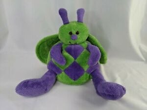 """Animal Adventure Insect Butterfly Plush 2005 Green Purple 10"""" Stuffed Animal Toy"""