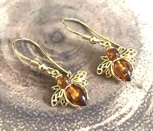 925 Sterling Silver Gold Amber Bee Earrings