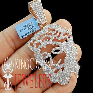 14K Rose Gold Silver Simu Diamond Jesus Face Custom Piece Pendant Charm 2.85''