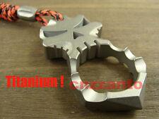 Titanium Skull self defense EDC survival tool hammer key pendant + lanyard bead