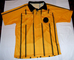 Yellow w/ Black Stipes Referee Ref Soccer Jersey Kwik Goal Men's Large Well Used
