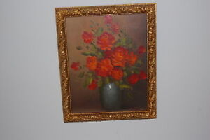 """Original oil painting -  """"Bowl of Roses"""" by Peter White in antique gilded frame."""