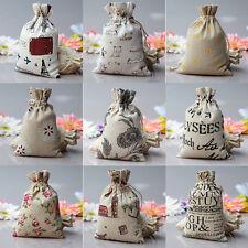 1/5/10X Linen Jute Sack Jewelry Pouch  Drawstring Favor Gift Bags Holder 5Siz Fy