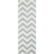 Hand-Tufted Chatham Blue/Ivory Wool Rug 2' 3 x 13' Runner