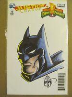 Justice League Power Rangers #1 DC Boom DF COA Original Ken Haeser Sketch Cover