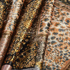 10 Metre Of British Design Printed Velvet Brown Gold Patchwork Upholstery Fabric