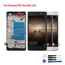 Black YANGJ for Huawei P8 Lite LCD Screen and Digitizer Full Assembly with Frame Color : Gold