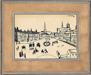 L S Lowry - old sketch pencil INK - HANDMADE !!!