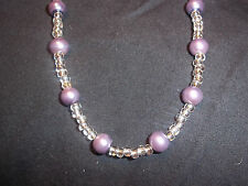 Handmade SILVER & PURPLE 15 inch Beaded NECKLACE CHOKER C-02 by Quality Jewelry