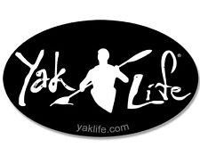 3x5 inch OVAL Black YAK LIFE Sticker -licensed decal kayak kayaking kayaker iyak