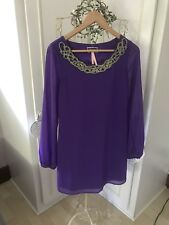 Lipsy Purple Bell Sleeved Sequin Collar Detail Dress Size 8