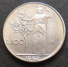 ITALY 1992 100 LIRE COIN REPVBBLICA ITALIANA GODDESS MINERVA LOT REF 813