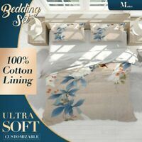 Morning Glory Floral Flowers Blue Quilt Cover Doona Duvet Cover with 2x Shams