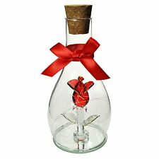 """""""I LOVE YOU"""" Glass Bottle Red Rose on Mirror Base Valentines Gift Anniversary"""